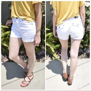 Midrise White Denim Shorts